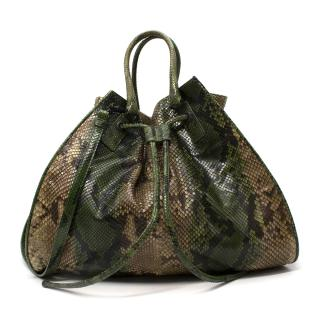 Bottega Veneta Limited Edition Drawstring Python Tote Bag