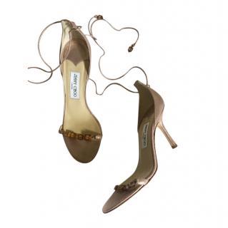 Jimmy Choo Crystal blush metallic suede sandals