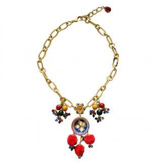 Dolce & Gabbana Lemon Drop Pom Pom Necklace