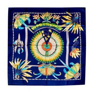 Hermes Rare Navy Colourway Brazil Print Silk Scarf 90