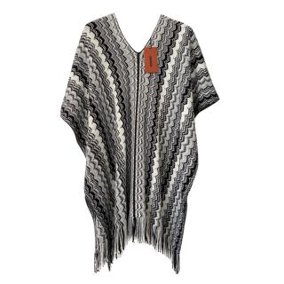 Missoni black /white/solver/ knit poncho top