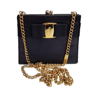 Ferragamo Black Vara Bow Vintage Shoulder Bag