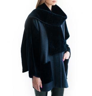 FurbySD Peacock Blue Wool & Shearling Coat & Scarf