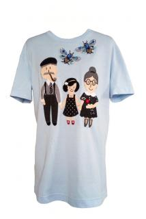 Dolce & Gabbana Blue Embellished Family T-Shirt