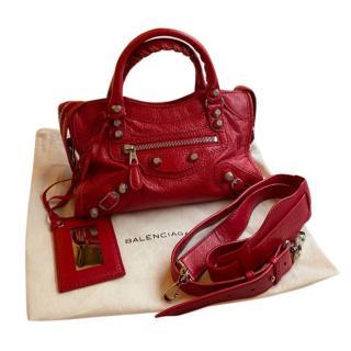 Balenciaga Red Glossy Mini City Bag