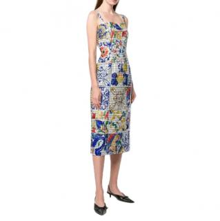 Dolce & Gabbana Majolica Tile-print Dress In White