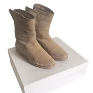 Jimmy Choo Nude Suede Shearling Lined Boots