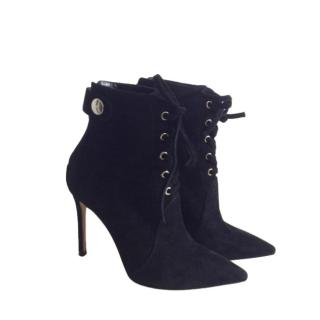 Gianvito Rossi Black Suede Lace-Up Ankle Boots