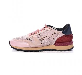 Valentino Garavani Lace, Leather & Suede Rockstud Sneakers