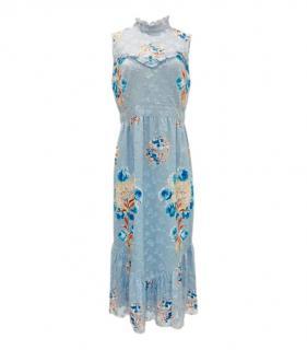 Anna Sui Blue Frilled Neck Georgette Dress