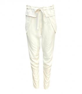 Chloe SIlk Cream Drawstring Trousers