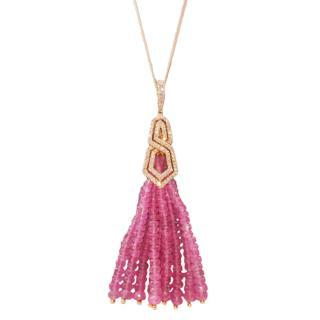 William & Son Pink Sapphire & Diamond Tassel Pendant