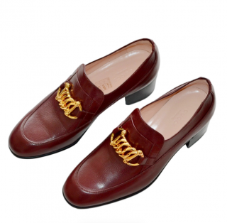 Gucci Burgundy Ebal Horsebit leather loafers