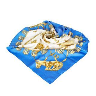 Hermes Blue Les Cavaliers d'Or Silk Scarf 90