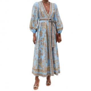 Zimmermann Blue Paisley Print Linen Midi Dress