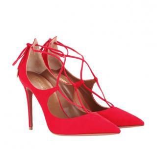 Aquazurra Red Suede Christy Lace-Up Sandals