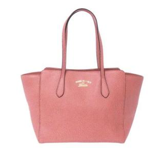 Gucci PInk Swing Leather Tote Bag