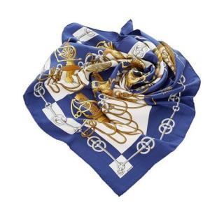 Hermes Navy Cliquetis Print Silk Scarf 90