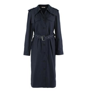 Celine Navy Eyelet Belted Trench Coat