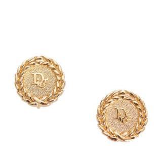 Dior Gold Tone Logo Clip-On Earrings