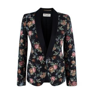 Saint Laurent Single Breasted Black Floral Embroidered Blazer