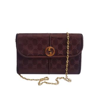 Gucci Vintage Monogram Satin Crossbody Bag