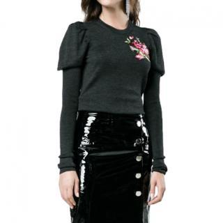 Dolce & Gabbana Black Embroidered Puff Sleeve Virgin Wool Cardigan