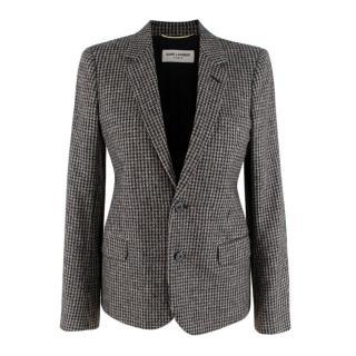 Saint Laurent Houndstooth Wool Blazer