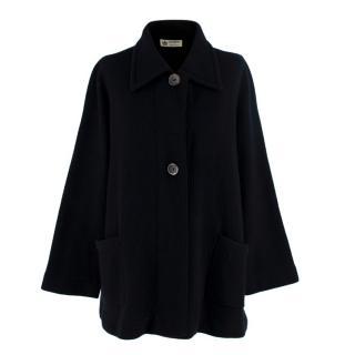 Striking Milano Cashmere Black Cape Cardigan