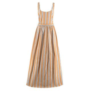 Brock Collection Oriana Striped Cotton Beige Maxi Dress