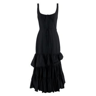 Brock Collection Black Cotton Ruffled Long Dress