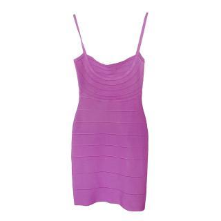 Herve Leger Double Knit Purple Bandage Mini Dress