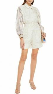 Emilio Pucci Linen Contrast Sleeve Playsuit