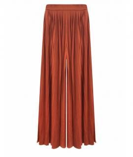 Chanel Rust-Tan Paris/Greece Silk Wide Leg Pleated Pants