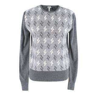 Loewe Wool Grey&Cream Knitted Embellishments Sweater