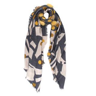 Fendi Multicolor FF Monogram Silk & Wool Scarf