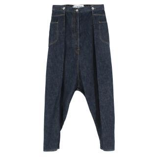 Loewe Cotton Blue Cropped Wide-Leg Jeans
