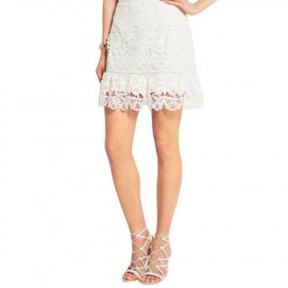 Self Portrait White Lace Mini Skirt
