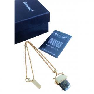 Moutton Collet Gold Tone Crystal Pendant Necklace