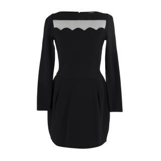 Valentino Black Ribbed Long Sleeve Dress