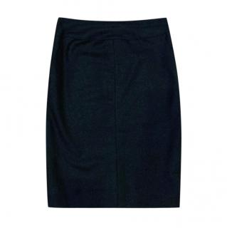 Chanel Grey Cashmere & Wool Fitted Skirt