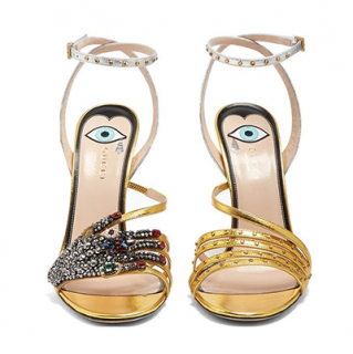 Gucci Crystal Embellished Metallic Wangy Sandals