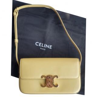 Celine Yellow Smooth Calfskin Triomphe Shoulder Bag