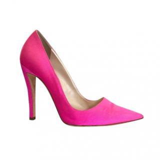 Dior Pink Satin Curved Heel Pumps