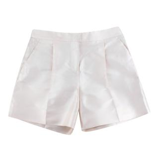 Valentino Cream Darted Satin Tailored Shorts