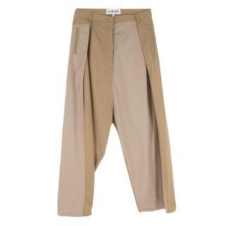 Loewe Colour Block Brown Wide Leg Jeans