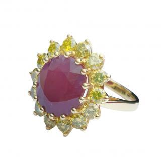 Bespoke 18ct Gold Yellow Diamond & Ruby Ring