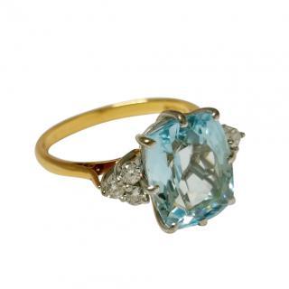 Bespoke 18ct Gold Diamond & Aquamarine Ring