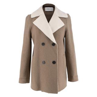 Harris Wharf London Wool Brown & Cream Double Breasted Coat