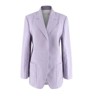 Victoria Beckham Lilac Cotton Long Blazer